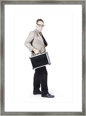 Businessman With Office Briefcase Framed Print by Jorgo Photography - Wall Art Gallery