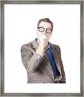 Businessman With Torch Framed Print by Jorgo Photography - Wall Art Gallery
