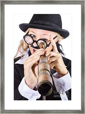Businesswoman Looking Through Telescope Framed Print by Jorgo Photography - Wall Art Gallery