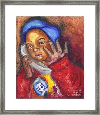 Framed Print featuring the pastel Busy Talkin To Grandma Right Now by Alga Washington
