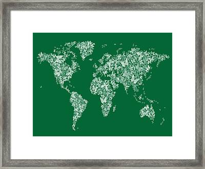 Butterflies Map Of The World Map Framed Print by Michael Tompsett