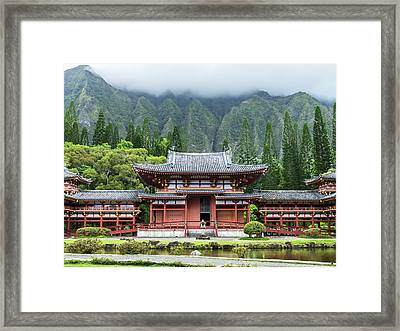 Framed Print featuring the photograph Byodo-in Temple 1 by Leigh Anne Meeks
