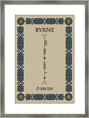 Framed Print featuring the digital art Byrne Written In Ogham by Ireland Calling