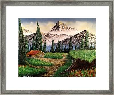Framed Print featuring the painting Cabin In The Mountains by Michael Rucker