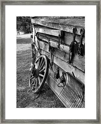 Cabin Wall Framed Print by Julie Dant