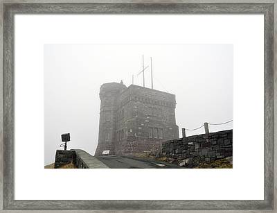 Cabot Tower In The Fog. Newfoundland. Framed Print
