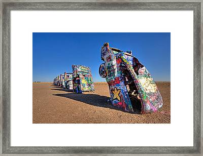 Cadillac Ranch Framed Print by Peter Tellone