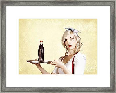 Cafe Bistro Bar Service. Woman With Drinks Tray Framed Print by Jorgo Photography - Wall Art Gallery