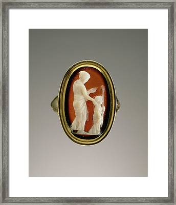 Cameo Set Into A Ring Unknown Gem 1st Century Ring Modern Framed Print by Litz Collection