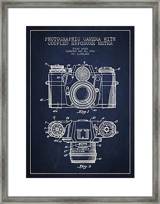 Camera Patent Drawing From 1962 Framed Print by Aged Pixel