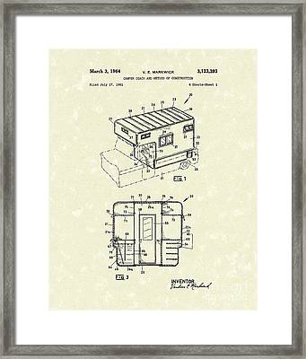 Camper Coach 1964 Patent Art Framed Print by Prior Art Design