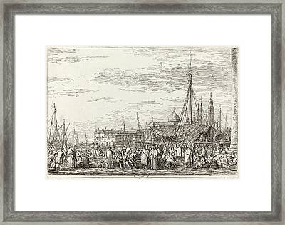 Canaletto Italian, 1697 - 1768, The Market On The Molo Framed Print by Quint Lox