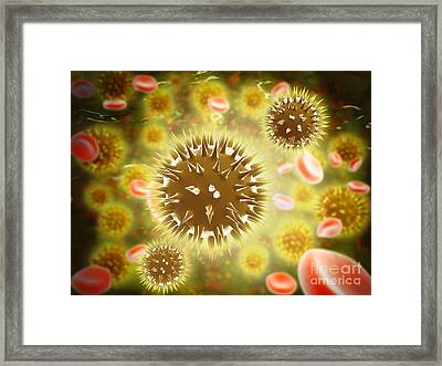 Cancer Cell With Red Blood Cell Flow Framed Print by Stocktrek Images