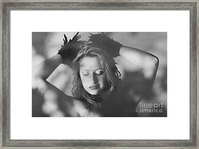 Candid Beautiful Woman In Vintage Feather Fashion Framed Print by Jorgo Photography - Wall Art Gallery