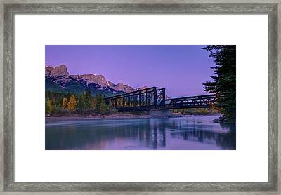 Canmore Engine Bridge On Bow River Framed Print