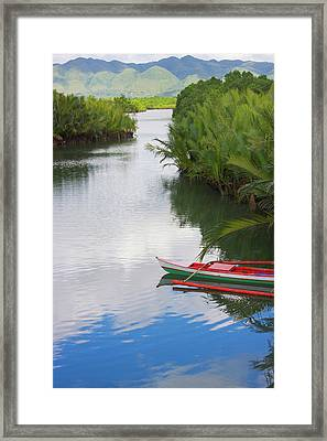 Canoe On The River, Bohol Island Framed Print by Keren Su