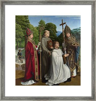 Canon Bernardijn Salviati And Three Saints Framed Print by Gerard David