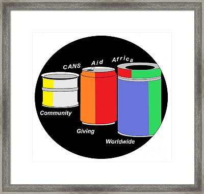Cans Aid Africa Community Giving Worldwide Framed Print by Mudiama Kammoh