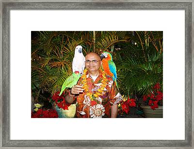 Can't Get Brighter Than This  Artist Navinjoshi In Hawaii Travel Vacations With Trained Parrots By P Framed Print by Navin Joshi
