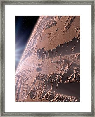 Canyons On Mars Framed Print by Detlev Van Ravenswaay
