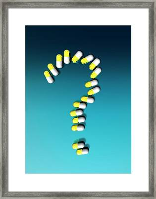 Capsules In Question Mark Framed Print by Victor Habbick Visions