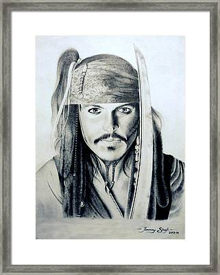 Johny Depp - The Captain Jack Sparrow Framed Print by Tanmay Singh