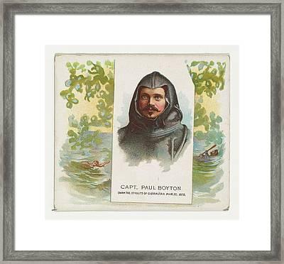 Captain Paul Boyton, Swam The Straits Framed Print by Allen & Ginter