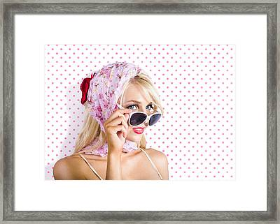 Captivating Woman Looking At Fashion Copyspace Framed Print by Jorgo Photography - Wall Art Gallery