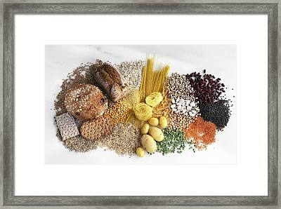 Carbohydrate-containing Foods Framed Print by Science Photo Library