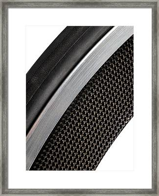 Carbon Fibre Bicycle Wheel Framed Print by Science Photo Library