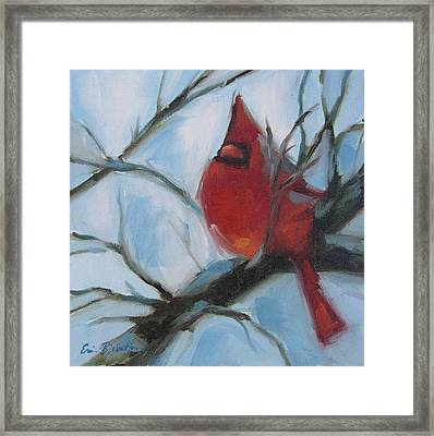 Cardinal Composed Framed Print by Erin Rickelton