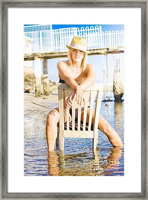 Carefree Beach Holiday Framed Print