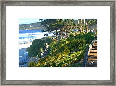 Carmel Beach Stairway Framed Print by Jim Pavelle