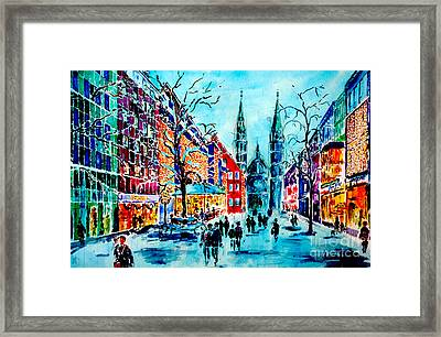 Framed Print featuring the painting Carolines Shopping Street by Alfred Motzer