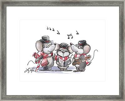 Caroling With Mic Mac And Moe Framed Print