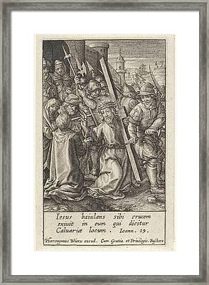 Carrying Of The Cross, Hieronymus Wierix Framed Print by Hieronymus Wierix