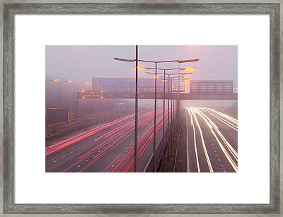 Cars Driving On The M1 Motorway Framed Print