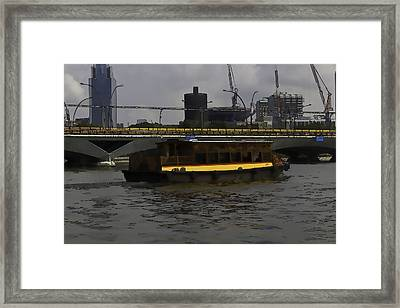 Cartoon - Colorful River Cruise Boat In Singapore Framed Print
