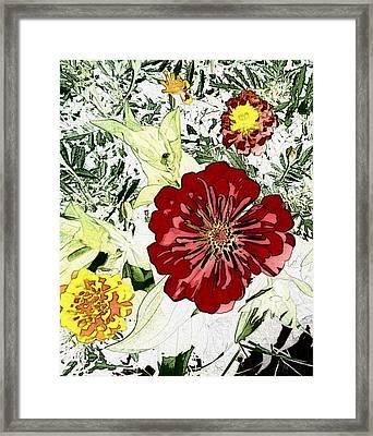 Cartoon Flower Framed Print by Terry Atkins