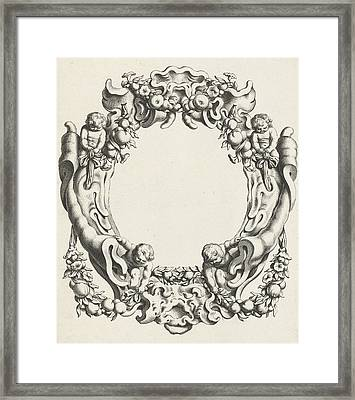 Cartouche With Lobe Ornament, Above And Below A Mask Framed Print