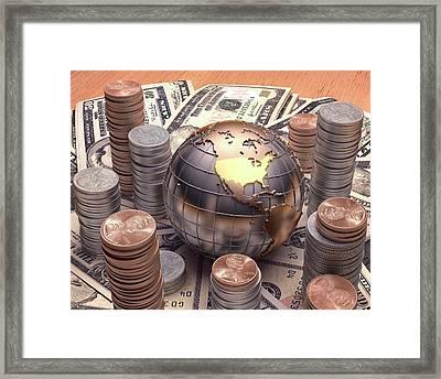 Cash And Globe Framed Print by Ktsdesign