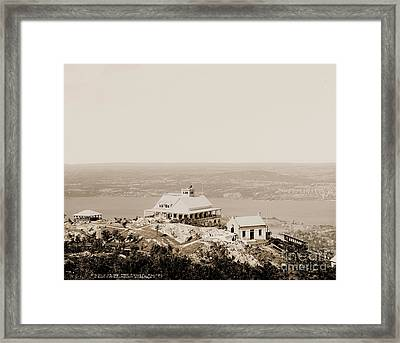 Casino At The Top Of Mt Beacon In Sepia Tone Framed Print