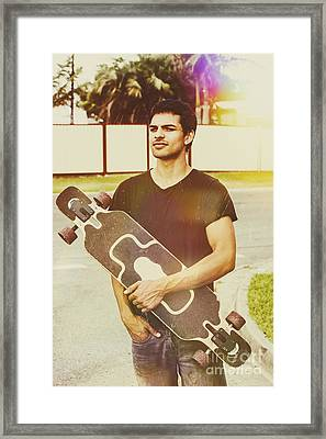 Casual Skateboarder Man With Longboard Skate Deck Framed Print