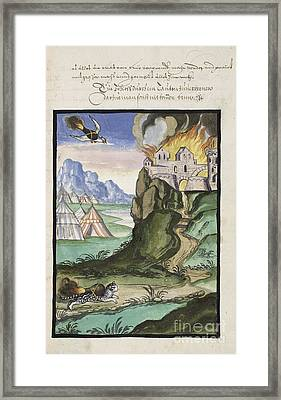 Cat And Bird Carrying Firebombs, 1607 Framed Print