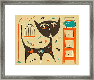Cat Framed Print by Jazzberry Blue