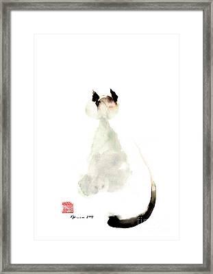 Cat Little Kittlen Syjamese White Cappuccino Black Grey Brown Meow  Framed Print by Johana Szmerdt