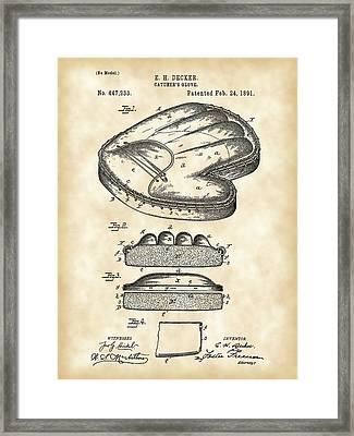 Catcher's Glove Patent 1891 - Vintage Framed Print by Stephen Younts