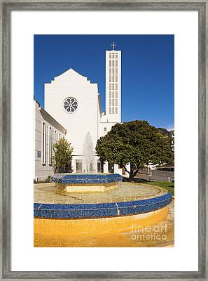 Cathedral And Tait Fountain Napier New Zealand Framed Print