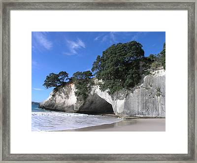 Cathedral Cove Framed Print by Christian Zesewitz