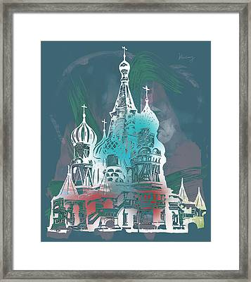 Cathedral Of St Basil  Kremlin Moscow  - Pop Stylised Art Poster  Framed Print by Kim Wang